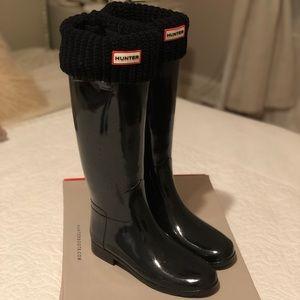 Hunter Waterproof Rain Boots with Boot Socks